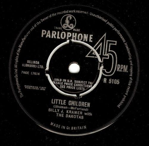 BILLY J. KRAMER WITH THE DAKOTAS Little Children Vinyl Record 7 Inch Parlophone 1964